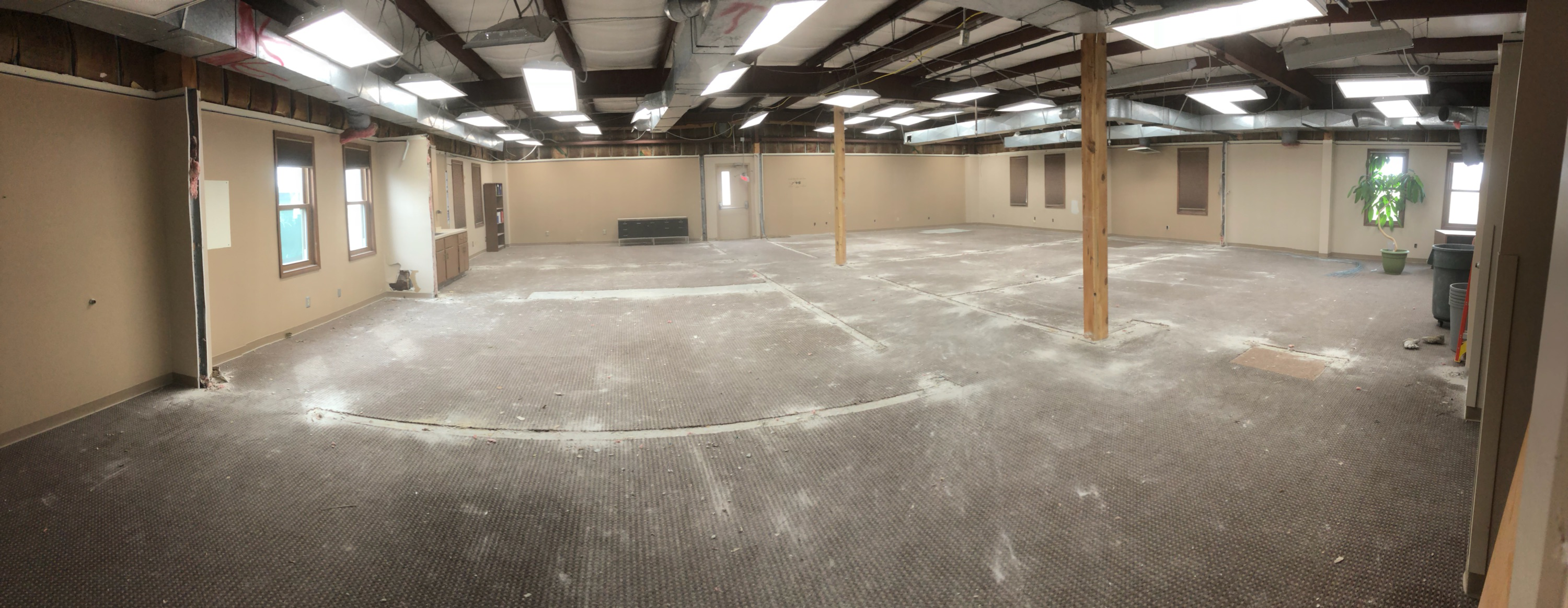 Old Board office facility with interior walls removed